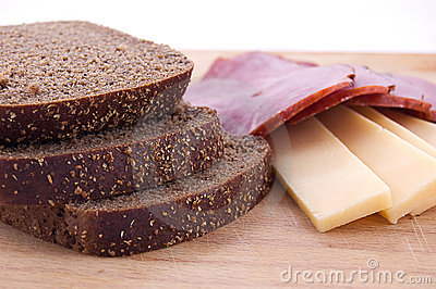 Sliced bread, cheese and ham