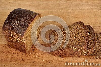 Sliced bread with coriander