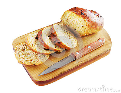 Sliced bread on a cutting board