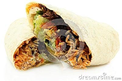 Sliced Burrito On White Background
