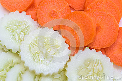 Sliced carrot and cucumber