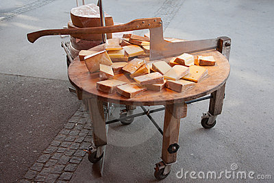 Sliced ​​cheese on the street