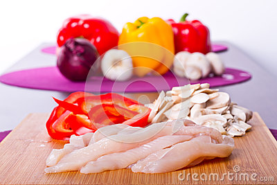 Sliced chicken breast for cooking