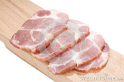 Sliced cooked pork neck