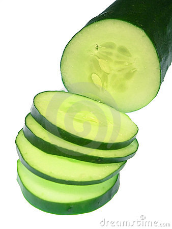 Free Sliced Cucumber, Isolated On White Stock Images - 197634