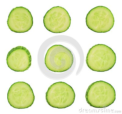 Free Sliced Cucumber Pieces Isolated Stock Photography - 37700602