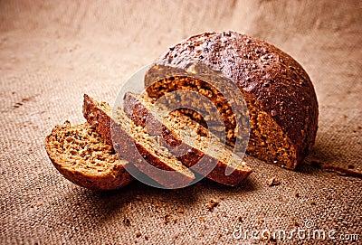 Sliced dark bread