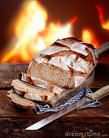 Sliced fresh rye bread