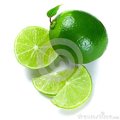Sliced green limes
