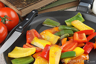 Sliced and grilled organic peppers