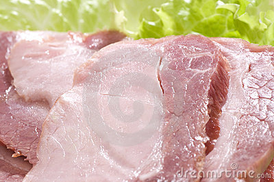 sliced ham close-up