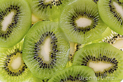 Sliced Kiwi Fruit (Actinidia deliciosa)