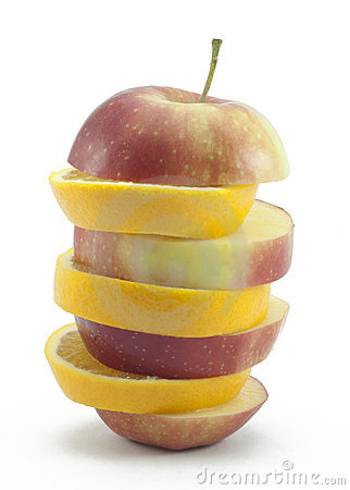Free Sliced Layers Red Apple And Orange Royalty Free Stock Photography - 15907217