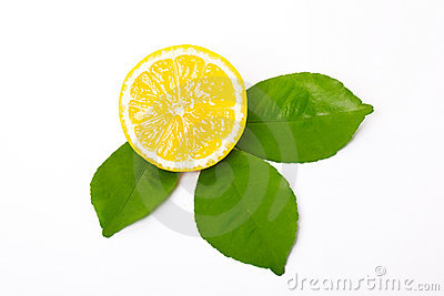 Sliced lemon and lemon leaves