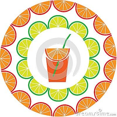 Sliced  lemon and orange frame with juice
