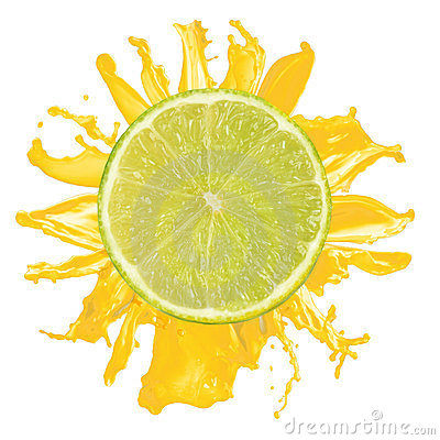 Sliced lime splash with orange juice isolated