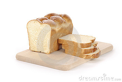 Sliced loaf of bread on a cutting board