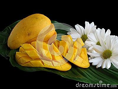 Sliced Mangoes On Leaf