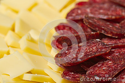 Sliced meat and cheese appetizers