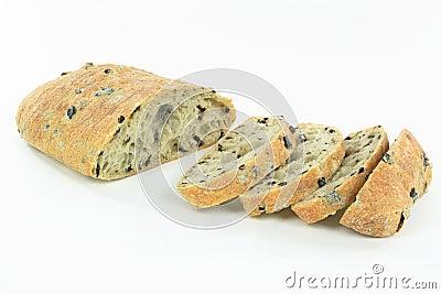 Sliced Mediterranean Ciabatta Black olive bread.