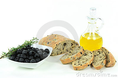 Sliced Mediterranean olive bread and raw products.