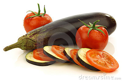 Sliced and mixed  tomato and Suriname aubergine