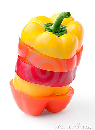 Sliced multi-color pepper