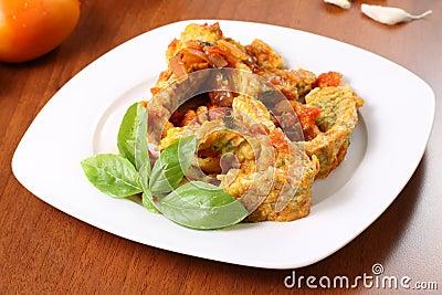 Sliced omelette