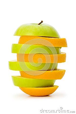 Sliced orange and apple
