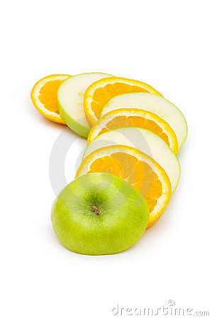 Sliced orange and apple