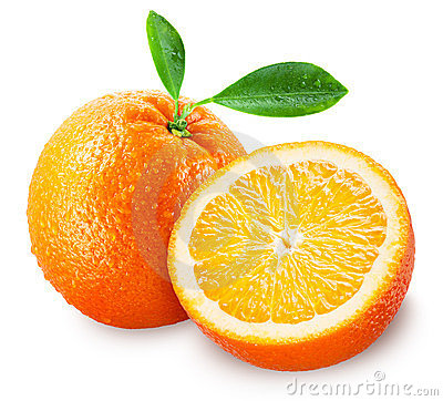 Sliced orange fruit with leaves isolated on white