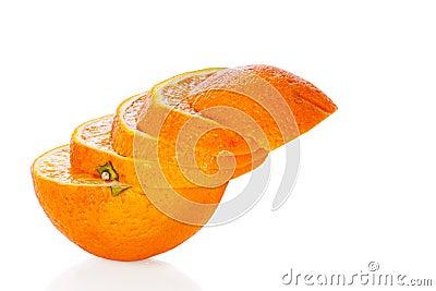 Sliced orange isolated on white