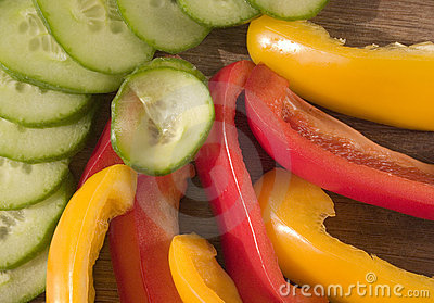 Sliced peppers and cucumber