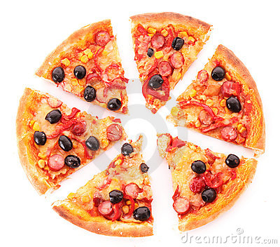 Sliced pizza with olives isolated