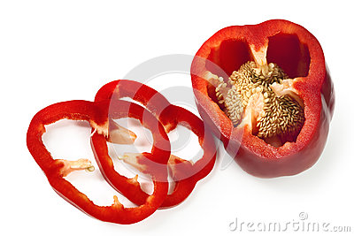 Sliced Red Capsicum over White
