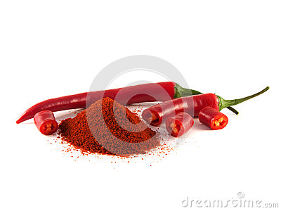 Sliced Red Chili Pepper With Hill Of Sweet Paprika Stock Images ...