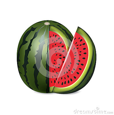 Sliced red melon isolated on white