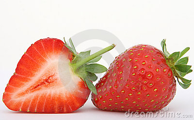 Sliced red strawberry fruit