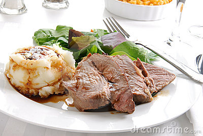 Sliced roast beef dinner