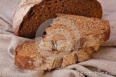 Sliced rustic brown bread