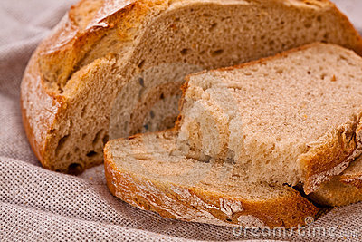 Sliced rustic rye-wheat bread
