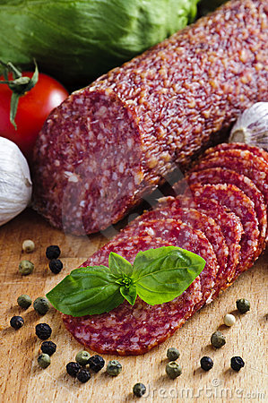 Free Sliced Salami Stock Photography - 19540062