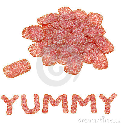 Sliced salami with yummy word