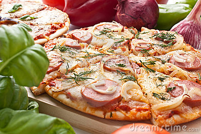 Sliced sausage and onion pizza