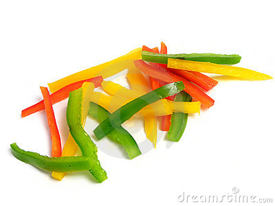 Sliced three color peppers