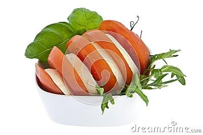 Sliced tomato / mozzarella and fresh basil