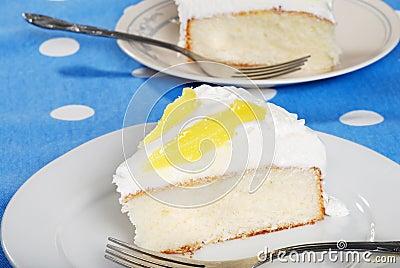 Sliced vanilla lemon cake