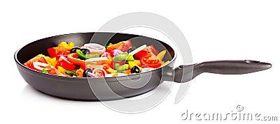 Sliced vegetables in a pan
