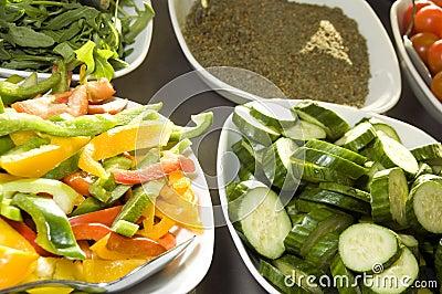 Sliced vegetables tomatoes with spice Jerusalem