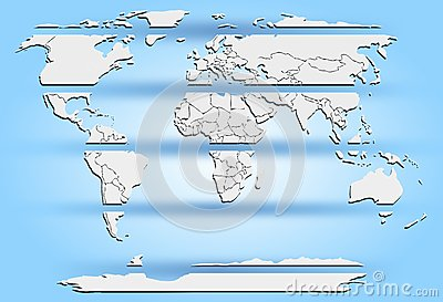 Sliced world map white continents on blue